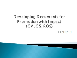 Developing  D ocuments for Promotion with Impact