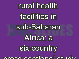 WaSH  in rural health facilities in sub-Saharan Africa: a six-country cross-sectional study