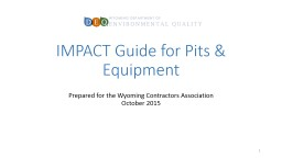 IMPACT Guide for Pits & Equipment