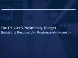 The FY 2015 Preliminary Budget:
