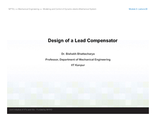 NPTEL  Mechanical Engineering  Modeling and Control of