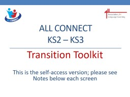 ALL Connect KS2 � KS3 Transition