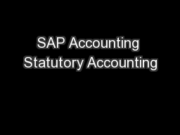 SAP Accounting Statutory Accounting