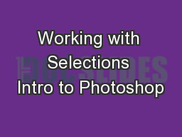 Working with Selections Intro to Photoshop