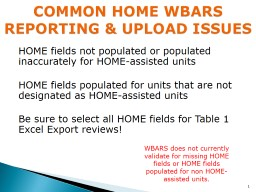 HOME fields not populated or populated inaccurately for HOME-assisted units
