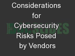 Internal Audit Considerations for Cybersecurity Risks Posed by Vendors