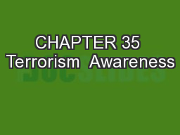 CHAPTER 35 Terrorism  Awareness