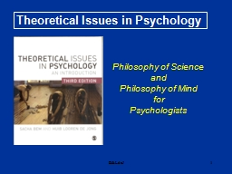 B&LdeJ 1 Theoretical Issues in Psychology