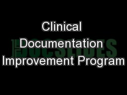 Clinical Documentation Improvement Program