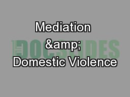 Mediation & Domestic Violence