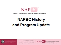 NAPBC History  and Program Update