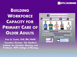 Building Workforce Capacity for Primary Care of Older