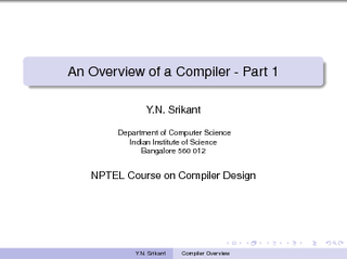 An Overview of a Compiler  Part  Y