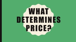 What determines price? Nature of the market