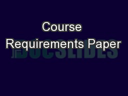 Course Requirements Paper