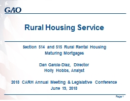 Rural Housing Service  Section 514 and 515 Rural Rental Housing