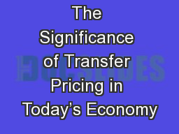 The Significance of Transfer Pricing in Today�s Economy