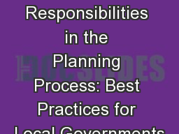 Roles and Responsibilities in the Planning Process: Best Practices for Local Governments