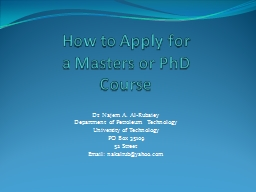 How to Apply for  a Masters or PowerPoint PPT Presentation