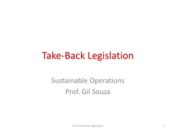 Take-Back  Legislation Sustainable Operations