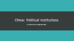 China: Political Institutions