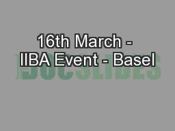 16th March - IIBA Event - Basel