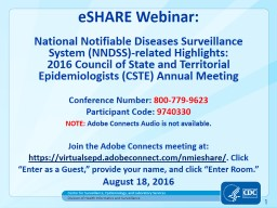 eSHARE Webinar: 	 National Notifiable Diseases Surveillance System (NNDSS)-related Highlights:
