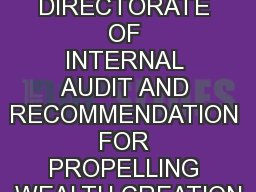 A SWOT ANALYSIS OF DIRECTORATE OF INTERNAL AUDIT AND RECOMMENDATION FOR PROPELLING WEALTH CREATION