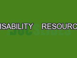 DISABILITY    RESOURCE