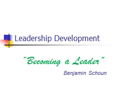 "Leadership Development ""Becoming a Leader"""