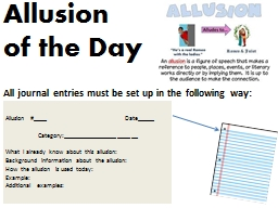 Allusion  of the Day All journal entries must be set up in the following way: