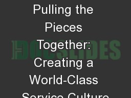 Chapter 15 Pulling the Pieces Together: Creating a World-Class Service Culture