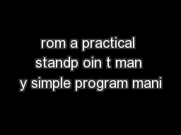 rom a practical standp oin t man y simple program mani
