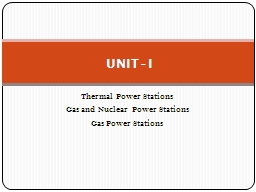Thermal Power Stations Gas and Nuclear Power Stations