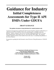 Guidance for Industry Initial Completeness Assessment