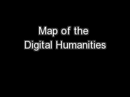 Map of the Digital Humanities