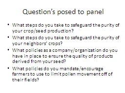 Question's posed to panel
