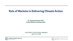 Role of Markets in Delivering Climate Action