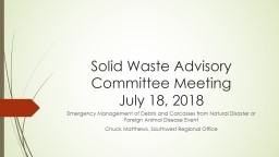 Solid Waste Advisory Committee Meeting