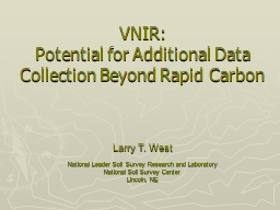 VNIR:  Potential for Additional Data Collection Beyond Rapid Carbon