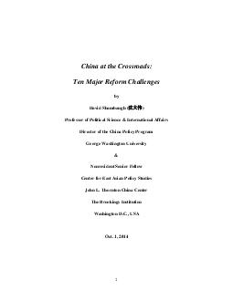 China at the Crossroads Ten Major Reform Challenges by David Shambaugh   Professor of Political Science  International Affairs Director of the China Policy Program George Washington University  Nonres