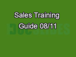 Sales Training Guide 08/11
