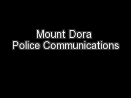 Mount Dora Police Communications