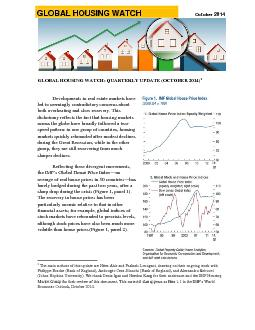 October  GLOBAL HOUSING WATCH QUARTERLY UPDATE OCTOBER  Developments in real estate markets have led to seemingly contradictory concerns about both overheating and slow recovery PDF document - DocSlides
