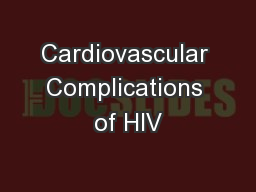 Cardiovascular Complications of HIV