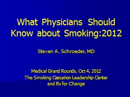 What Physicians Should Know about Smoking:2012