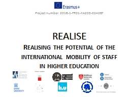 REALISE Realising   the potential of the international mobility of staff in higher