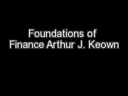 Foundations of Finance Arthur J. Keown