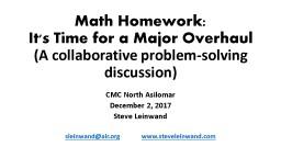 Math  Homework: It's  Time for a Major