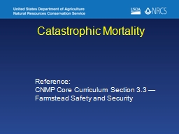 Catastrophic Mortality Reference: